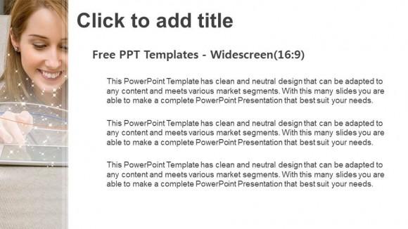 Descargar Presentaciones plantillas powerpointMujer feliz usando una tableta