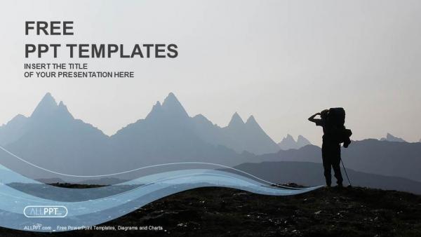 Presentaciones plantilla powerpointExcursionista en la cima de la montaña