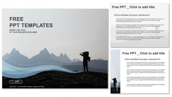 Diapositivas plantilla powerpointExcursionista en la cima de la montaña