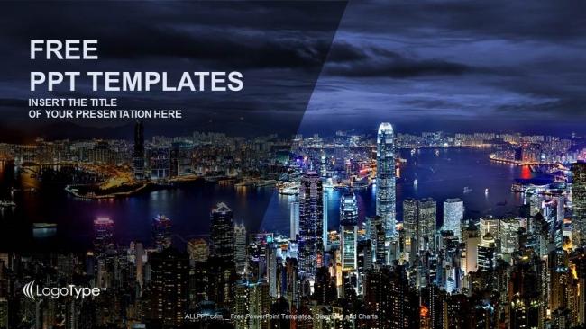Presentaciones plantilla powerpointHong Kong de noche