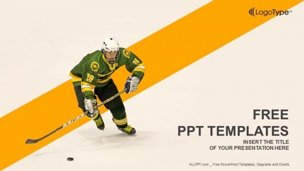 Diapositivas plantilla powerpointJugador de hockey sobre hielo