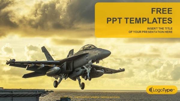 Powerpoint para presentacionesJet Fighter despega de un portaaviones