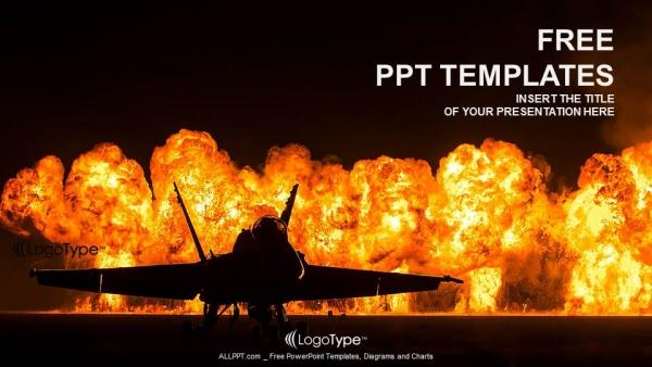 Descargar Presentaciones plantillas powerpointJet fighter con fuego