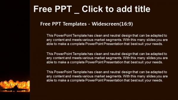 Powerpoint para presentacionesJet fighter con fuego