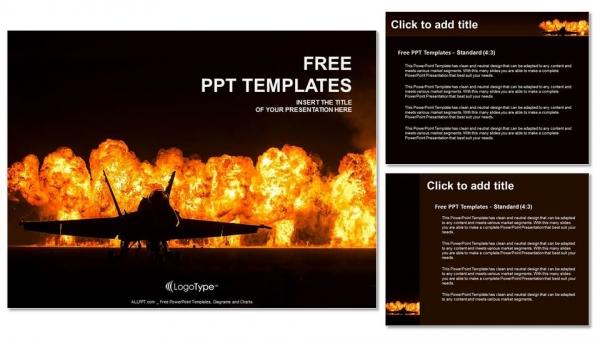 Presentaciones plantilla powerpointJet fighter con fuego