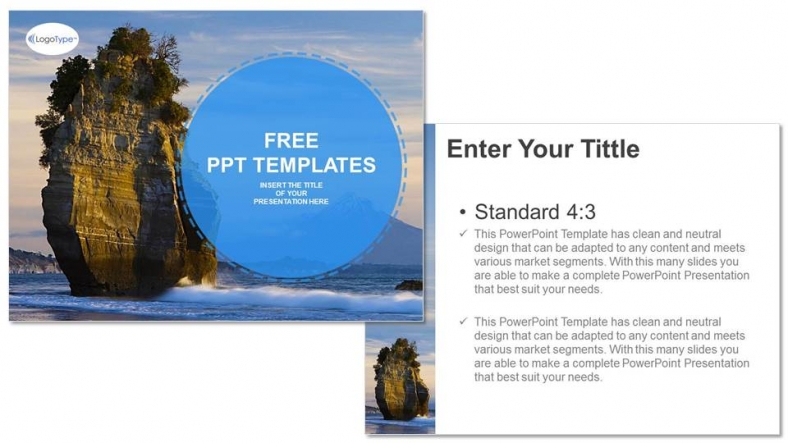 Diapositivas plantilla powerpointPaisajes Playa Roca