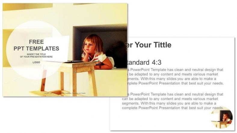 Diapositivas plantilla powerpointLaptop y Niña Pequeña
