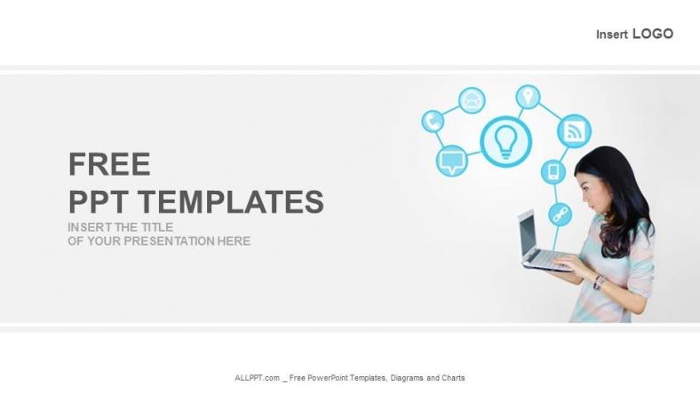 Diapositivas plantilla powerpointPortátil con iconos de tecnología