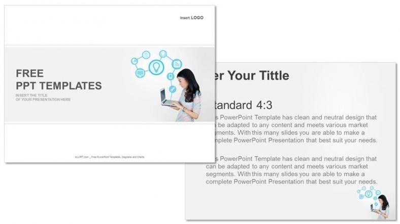 Powerpoint para presentacionesPortátil con iconos de tecnología