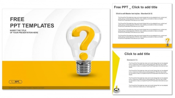 Powerpoint para presentacionesBombilla con signo de interrogación como símbolo de idea y solución