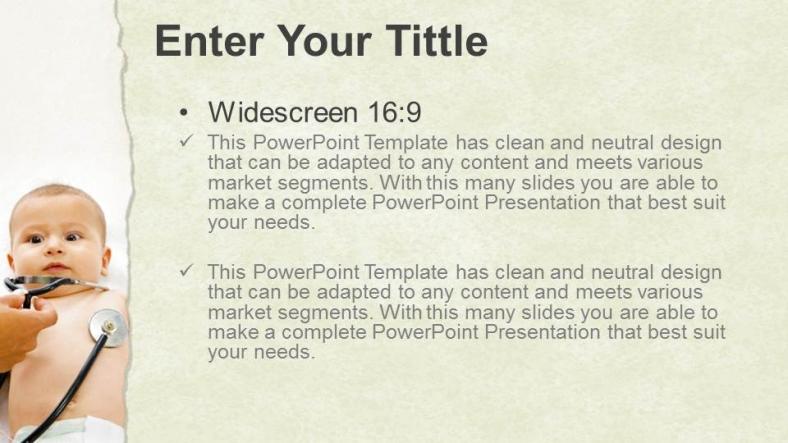 Diapositivas plantilla powerpointBebé pequeño con estetoscopio