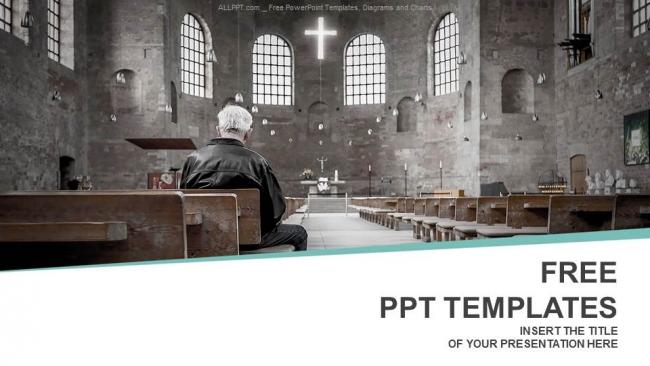 Diapositivas plantilla powerpointHombre orando en la iglesia