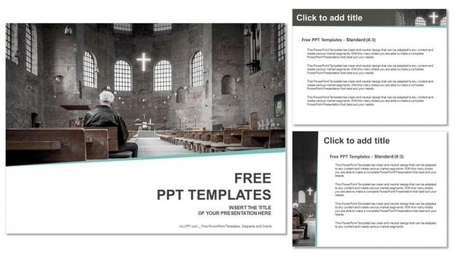 Descargar Presentaciones plantillas powerpointHombre orando en la iglesia
