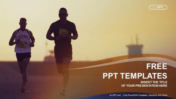 Diapositivas plantilla powerpointCorredores de maratón corriendo por la ciudad