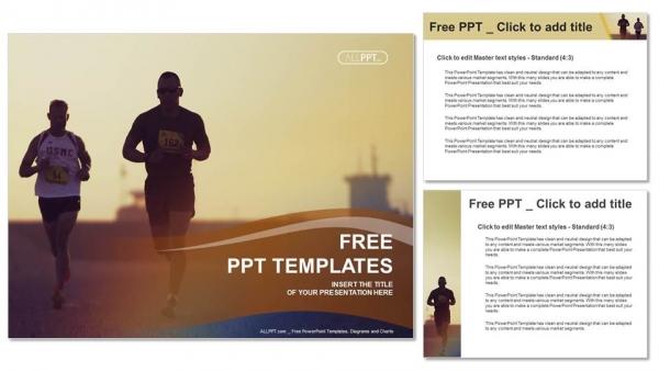 Descargar Presentaciones plantillas powerpointCorredores de maratón corriendo por la ciudad
