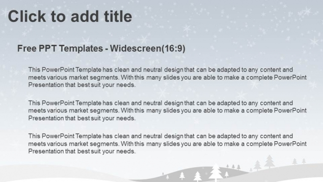 Diapositivas plantilla powerpointFeliz Navidad con invierno nevado