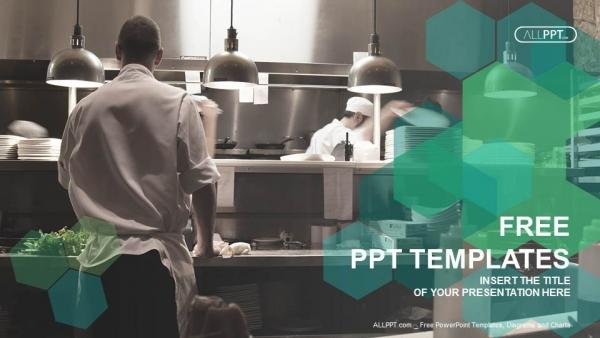 Diapositivas plantilla powerpointCocineros de movimiento de una cocina de restaurante