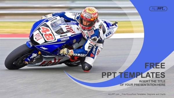 Diapositivas plantilla powerpointCarreras de motocicletas en una curva rápida en la pista