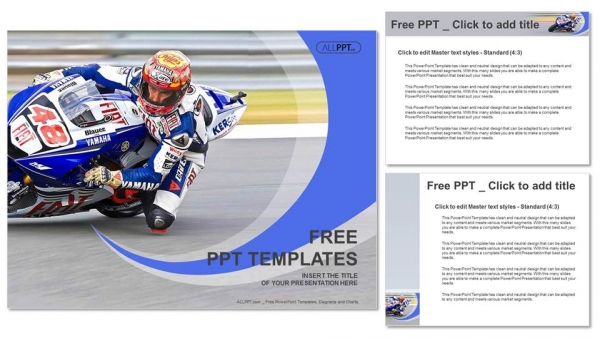 Descargar Presentaciones plantillas powerpointCarreras de motocicletas en una curva rápida en la pista