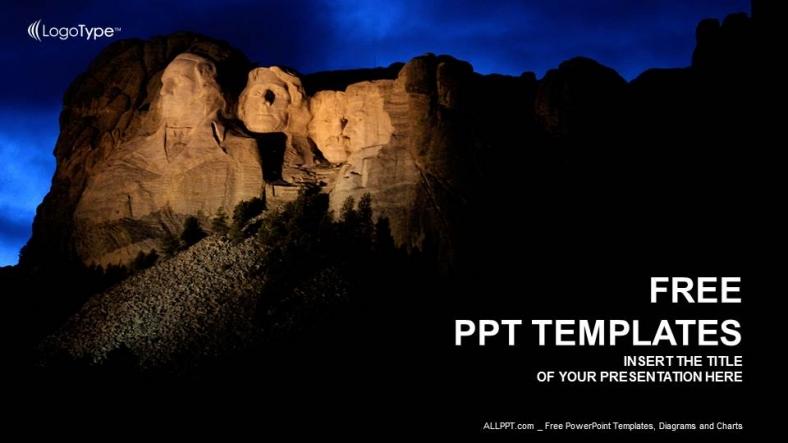 Plantilla Powerpoint: Monte Rushmore Noche