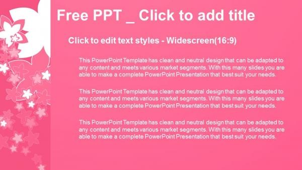Diapositivas plantilla powerpointNaturaleza con flores rosas