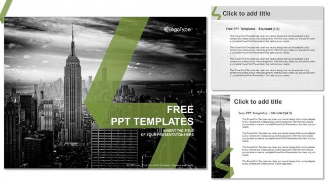 Diapositivas plantilla powerpoint Ciudad de Nueva York Skyline