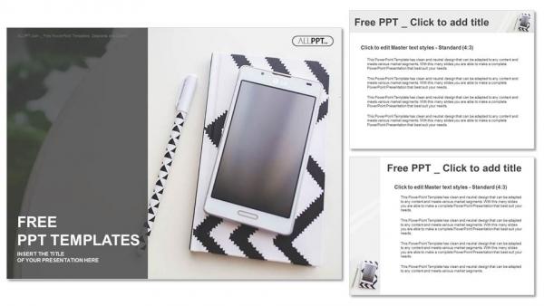 Powerpoint para presentacionesPortátil, bolígrafo y teléfono móvil