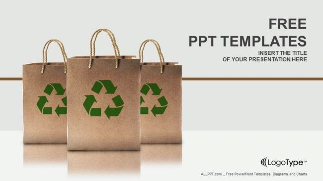 Diapositivas plantilla powerpointBolsas de papel con letrero de reciclaje