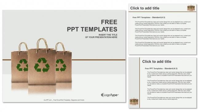 Descargar Presentaciones plantillas powerpointBolsas de papel con letrero de reciclaje