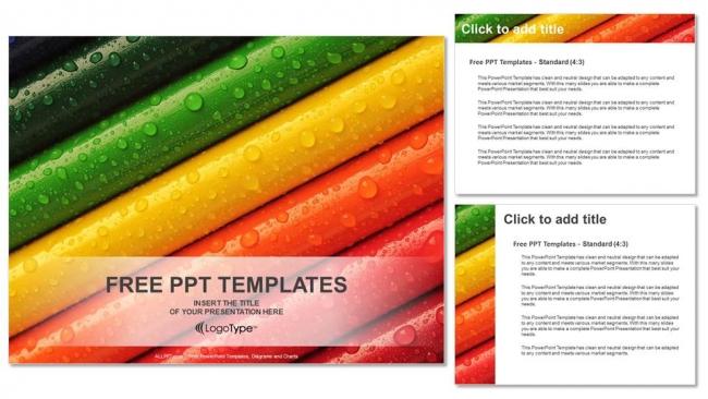 Presentaciones plantilla powerpointGotas de lluvia en lápices de colores