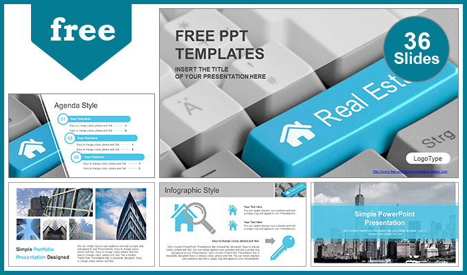 Diapositivas plantilla powerpointIconos de bienes raíces en el teclado