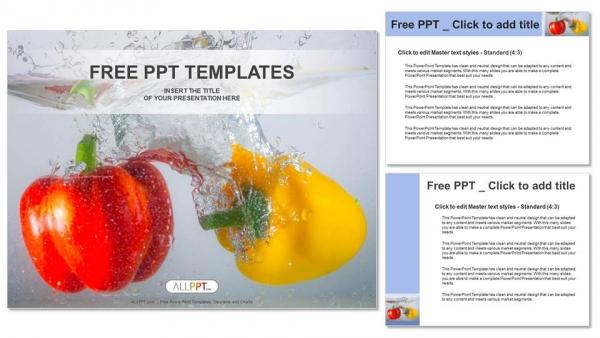 Presentaciones plantilla powerpointPimientos rojos y amarillos en agua