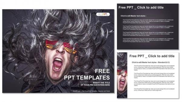 Diapositivas plantilla powerpointEstrella de rock cantando sobre fondo negro