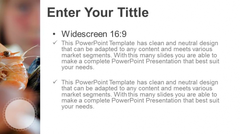 Powerpoint para presentacionesAperitivo de mariscos