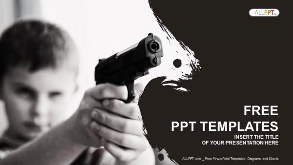 Powerpoint para presentacionesEl niño serio con la pistola negra