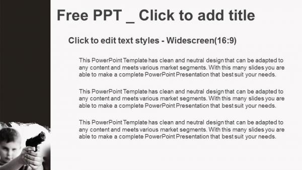 Diapositivas plantilla powerpointEl niño serio con la pistola negra