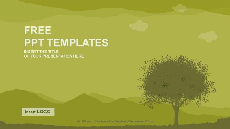Presentaciones plantilla powerpointSilueta de árbol