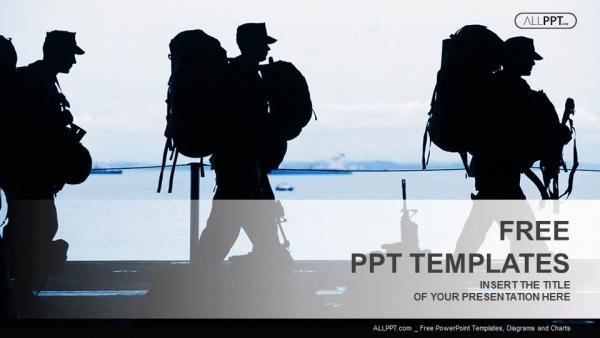 Presentaciones plantilla powerpointSilueta de soldado con armas
