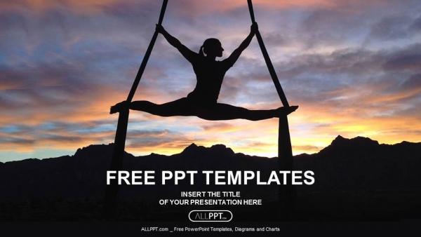 Descargar Presentaciones plantillas powerpointSilueta de mujer haciendo yoga