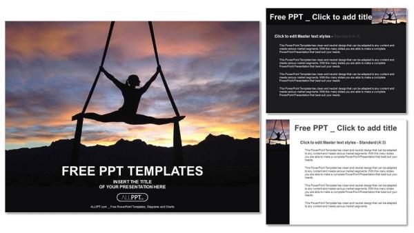 Diapositivas plantilla powerpointSilueta de mujer haciendo yoga