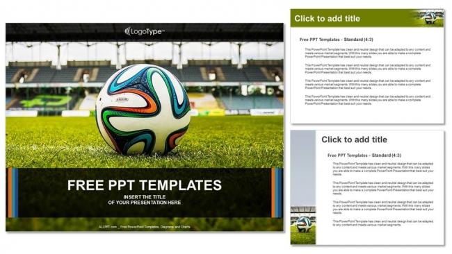 Presentaciones plantilla powerpointBalón de fútbol sobre hierba verde