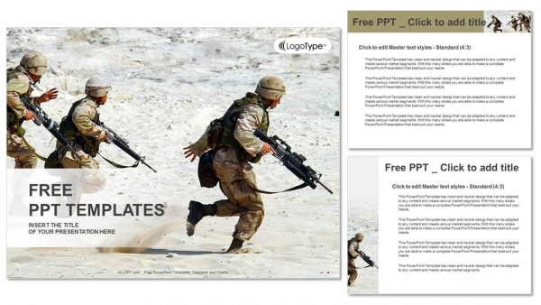 Presentaciones plantilla powerpointEscuadrón de soldados en el desierto
