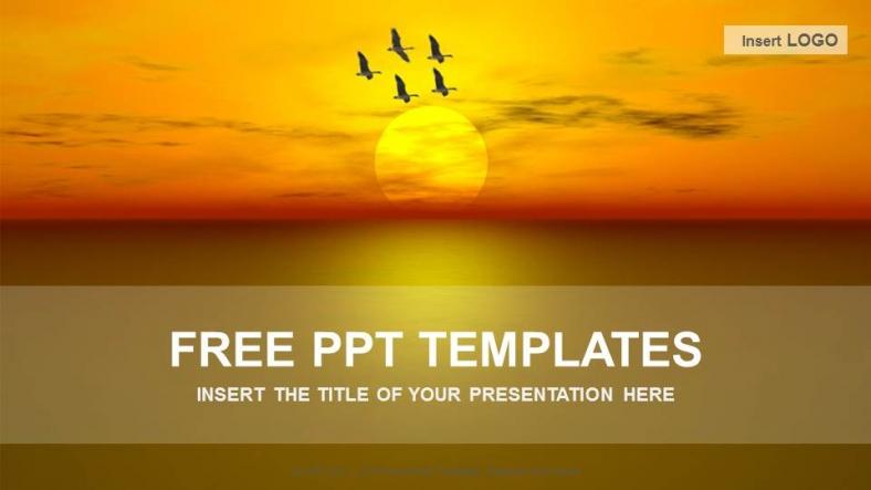 Presentaciones plantilla powerpointPuesta de sol