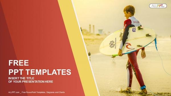 Powerpoint para presentacionesSurfista sosteniendo una tabla de surf