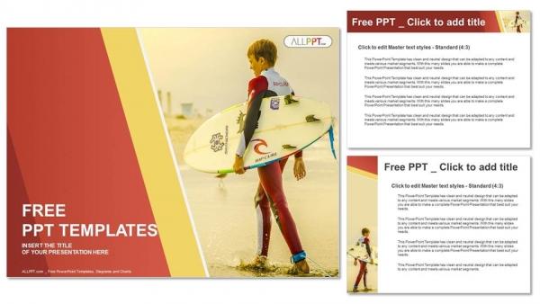 Diapositivas plantilla powerpointSurfista sosteniendo una tabla de surf
