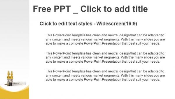 Presentaciones plantilla powerpointJeringa con aguja y ampolla marrón