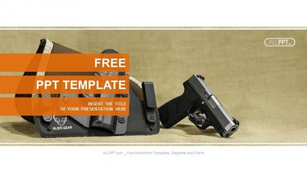 Descargar Presentaciones plantillas powerpointEl soporte de la pistola automática sobre funda de color negro