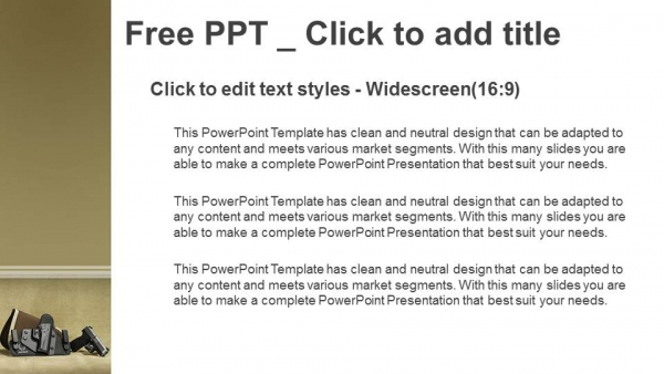 Powerpoint para presentacionesEl soporte de la pistola automática sobre funda de color negro