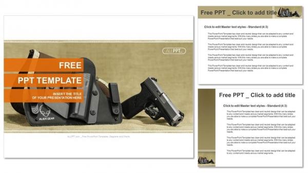 Presentaciones plantilla powerpointEl soporte de la pistola automática sobre funda de color negro