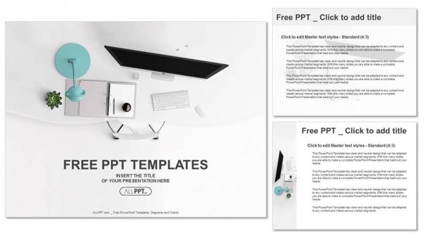 Descargar Presentaciones plantillas powerpointVista superior de los suministros de oficina sobre la mesa